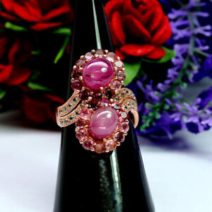 NATURAL-PINK-RUBY-WITH-TOURMALINE-amp-ZIRCON-CAMBODIA-RING-925-STERLING-SILVER