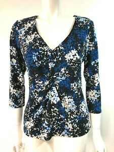 Austin Reed Blue Black White Floral Pattern Long Sleeve Top Size M 12 Ebay