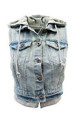 Women Junior Blue Hoodie Denim Jeans vest S,M,L Ci sono Cavalini fashion Button