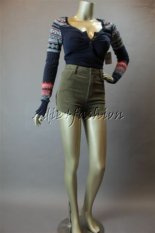 New MINK PINK Olive Forever Young Corduroy Stretchy High Waist Shorts Small