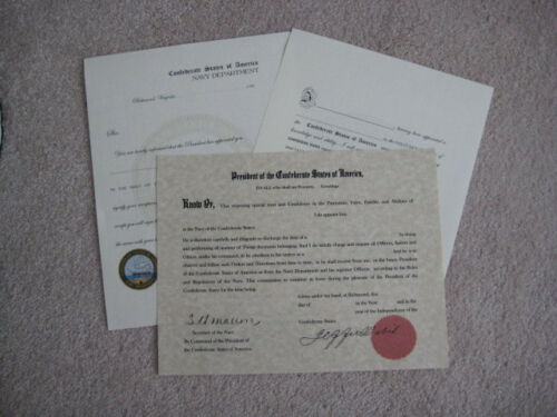 Repro Confederate Naval or Marine Officer/'s Commission Documents