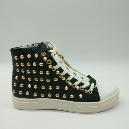 New Womens Studded Hi Top Trainers Ladies Designer Style Snakeskin Sneaker Shoes