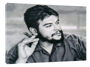 CHE  GUEVARA DRAWN WITH CHARCOAL SOFT PASTEL PRINT ON FRAMED CANVAS  WALL ART