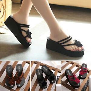 Femmes Plage talon haut compensées plateforme Tongs Sandales Chaussons Plage Chaussures UK