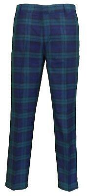 Da Uomo 60s vintage con Mod Check BLACKWATCH Tartan Skinny Fit Pantaloni