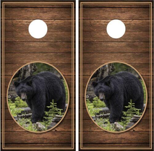 Black Bear #2 Wood Background Cornhole Board Decal Wrap Wraps