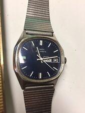 Timex Mens Mechanical Automatic Calendar Day Date Wristwatch Watch Blue Dial