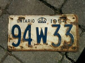 Vintage 1954 Ontario ON Canada Vehicle License Plate White Blue ~ POOR 94 W 33