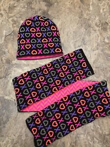 Details about Athletech Sz L XL 8-16 Girls Scarf and Hat Set Black Neon XO  Winter Warm Youth a0d9a8256d40