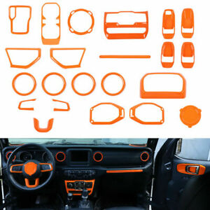 22pc Interior Accessories Decoration Cover Trim For 18+ Jeep Wrangler JL Orange