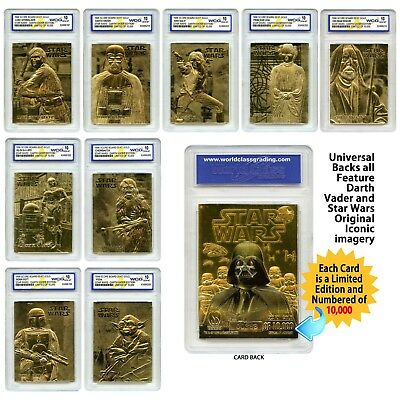 SKYWALKER//LEIA//VADER//SOLO//OBI WAN//R2D2! 7 STAR WARS GEMMT 10 23KT GOLD CARD SET