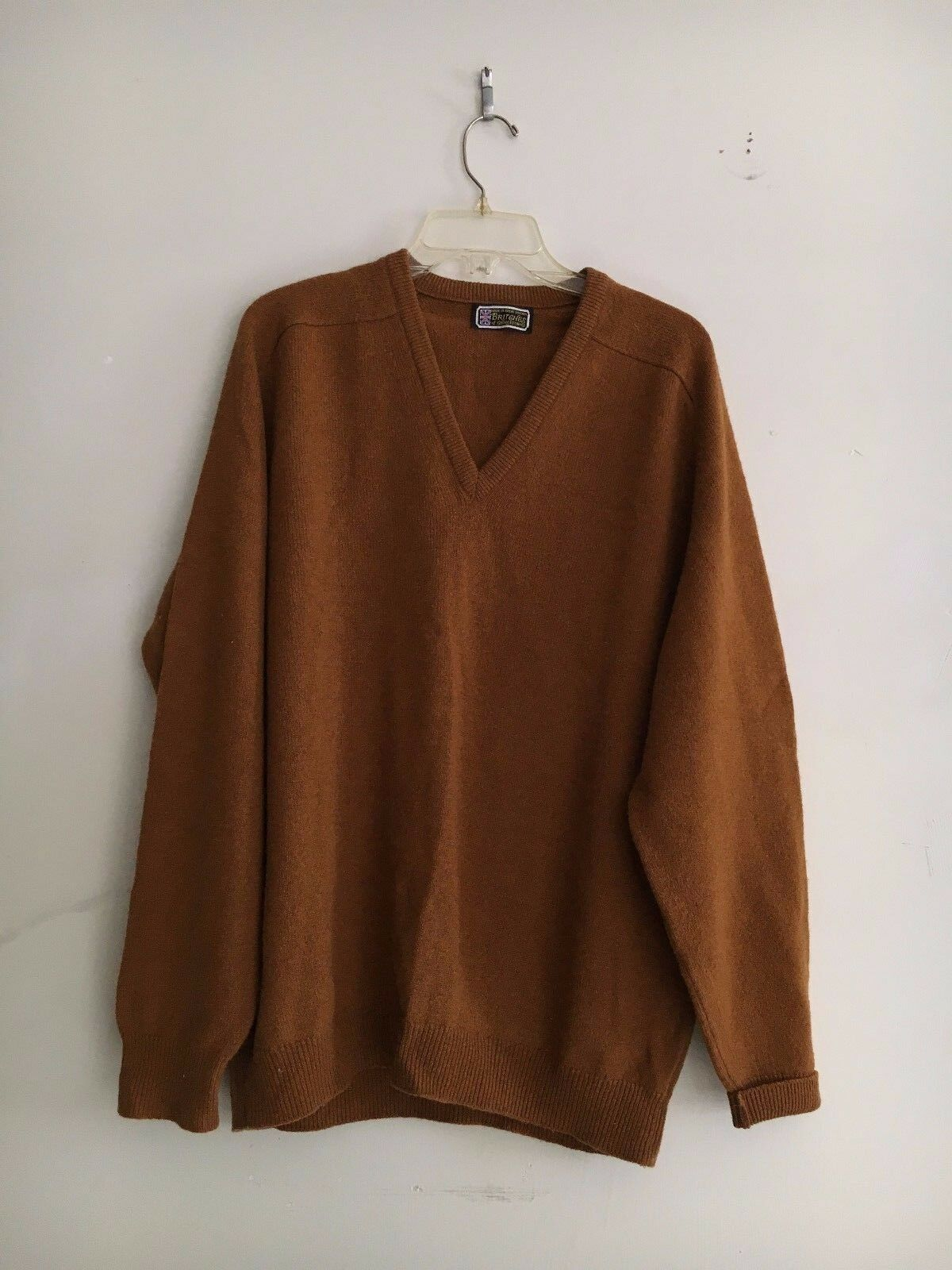 BRITGHES OF GEORGETOWNE GOLD braun MEN PURE WOOL SWEATER SIZE 44 GREAT BRITAIN