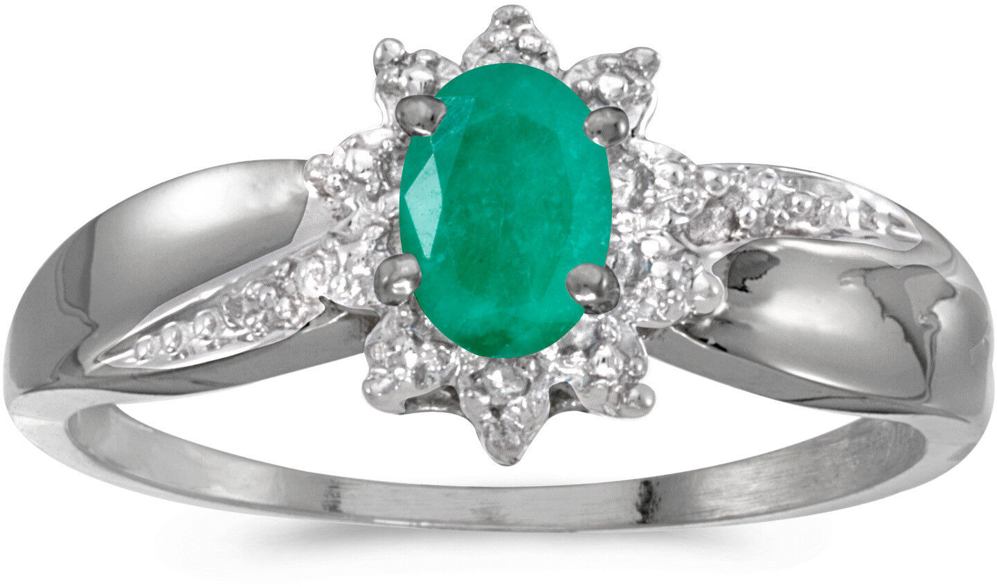 10k White gold Oval Emerald And Diamond Ring (CM-RM911W-05)
