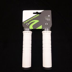 CANNONDALE-WHITE-Handlebar-Grips-Aluminum-Lock-On-Clamp-Black-End-Mountain-Bike