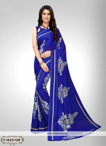 Blue Printed Bollywood Saree Indian Pakistani Designer Sari 1274