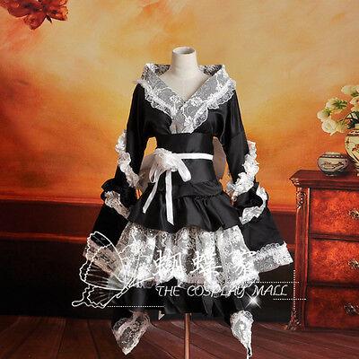 Vocaloid Miku Schwarz Cosplay Kostüm Kleid lolita Gothic Perücke Kimono Japan