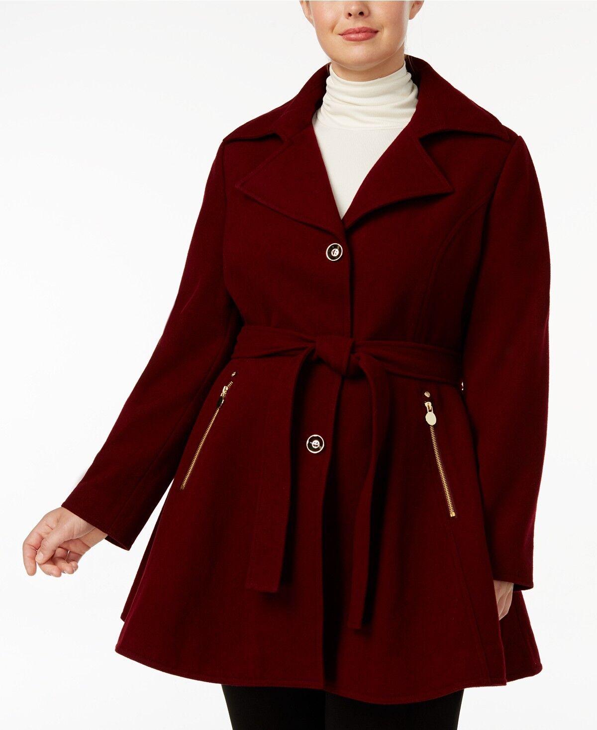 INC Plus Size Skirted Wool-Blend Walker Coat Cabernet 1X  320