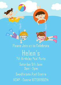 personalised boy girl swimming pool birthday party invites inc