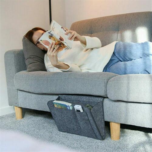 Sofa Bedside Storage Caddy Hanging Bag Felt Pocket Organizer Book Holder Home