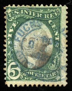 B243 U.S. Revenue Scott RB5a 5-cent proprietary, blue oval handstamp SCV = $175
