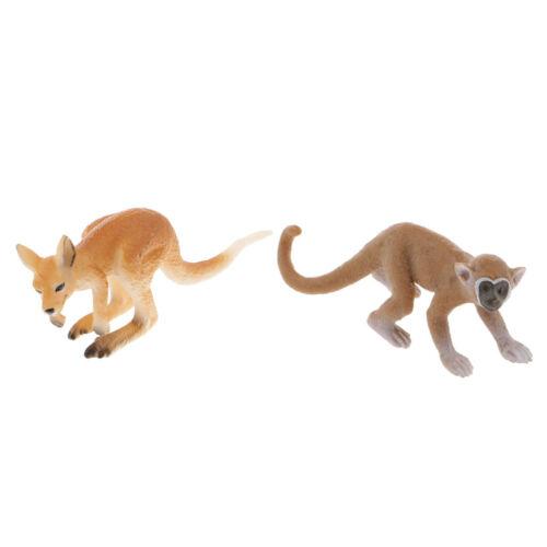 2pcs Wildlife Animal Squirrel Monkey Kangaroo Model Kid Toy Party Favors