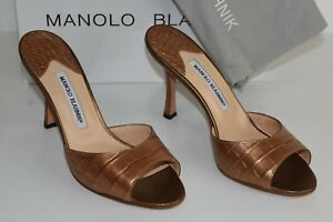3K NEW NEW 3K MANOLO BLAHNIK ASTUTA oro Metallic ALLIGATOR SANDALS SLIDES   8a978a