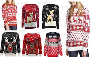 Womens Christmas Ladies Novelty Fairisle Penguin Reindeer Santa Snow Xmas Jumper