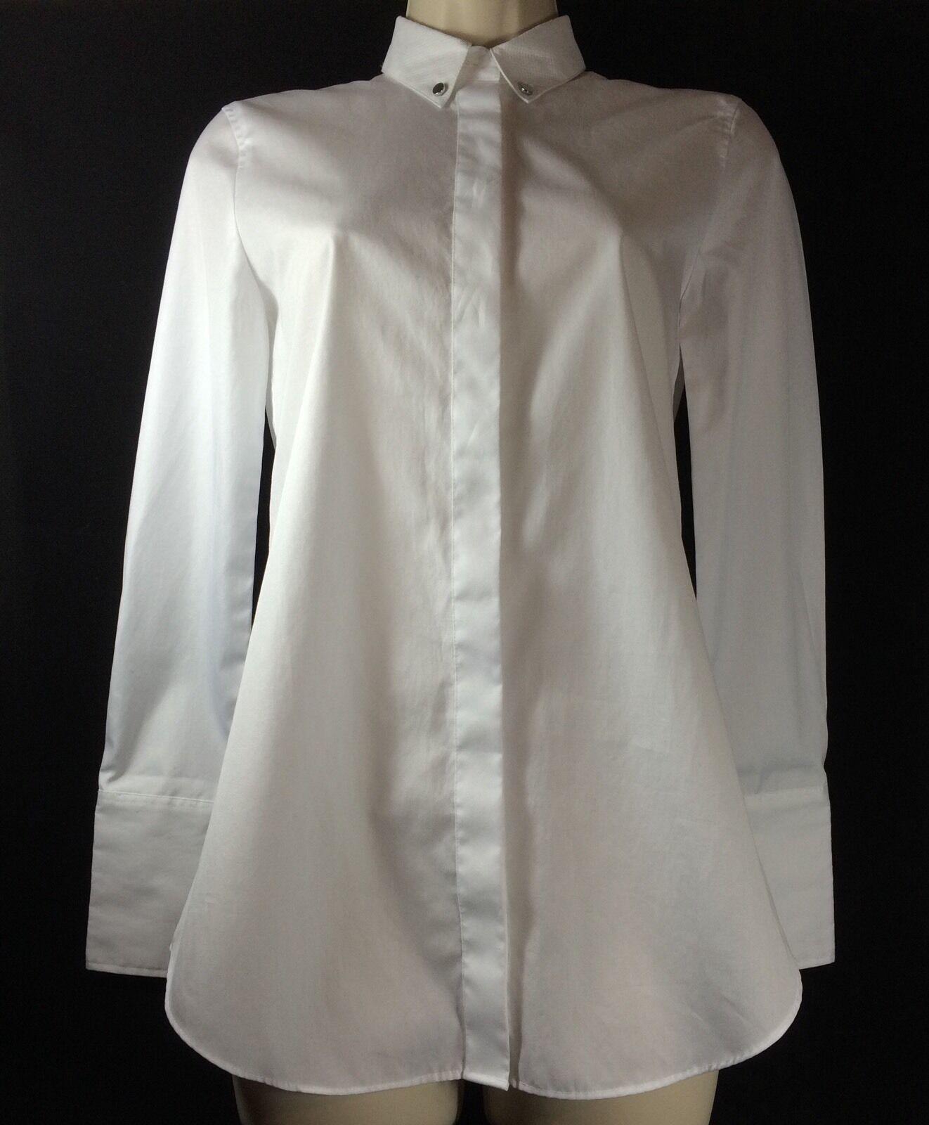 J. Crew damen Weiß Pique Collar Ling Sleeve Hemd Down Sz. 00