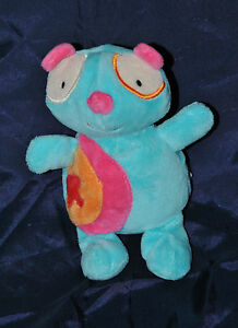 Peluche Doudou Chat Ours BAWI Bleu Rose Orange 14 Cm Etat NEUF