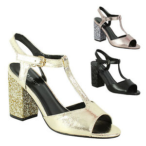 99423d23af2 Women s Glittery Block Heel Sandals Ladies Peep Toe Party Ankle ...