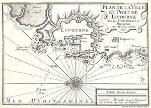 Antique-map-Plan-de-la-Ville-et-Port-de-Livourne