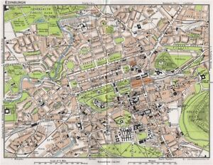 EDINBURGH. Vintage town city map plan. Scotland 1967 old vintage ...