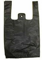 Black Plastic Bags Tshirt Retail Small 1/10 Hd Quality Wholesale 8 X 3.5 X 15