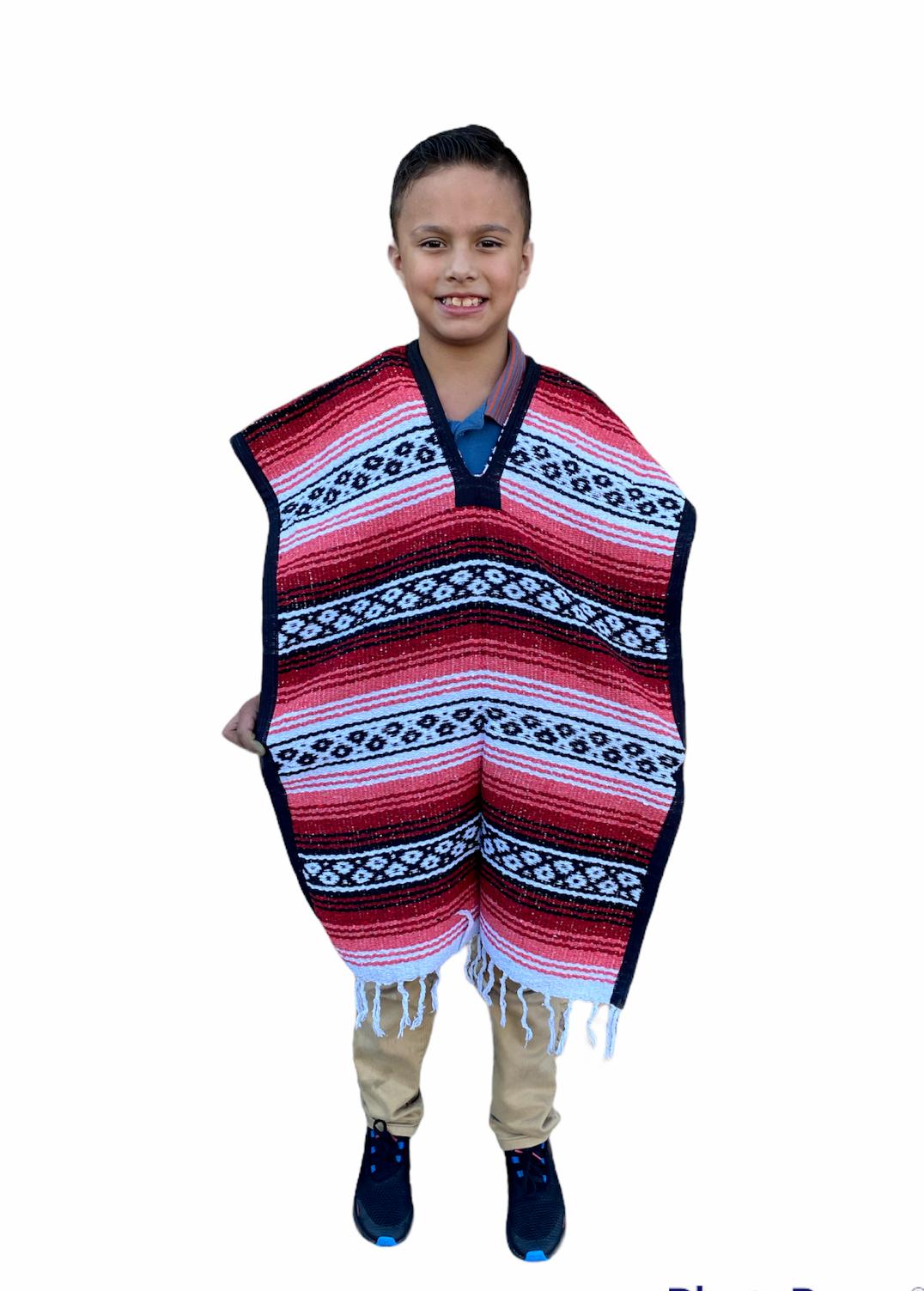 MEXICAN KIDS PONCHO , FALSA , COSTUME ,BLANKET SERAPE GABAN ,KIDS 8 - 12 , RED