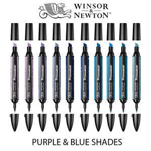 Winsor & Newton ProMarker Twin Tip Graphic Marker Pen - PURPLE & BLUE Colours