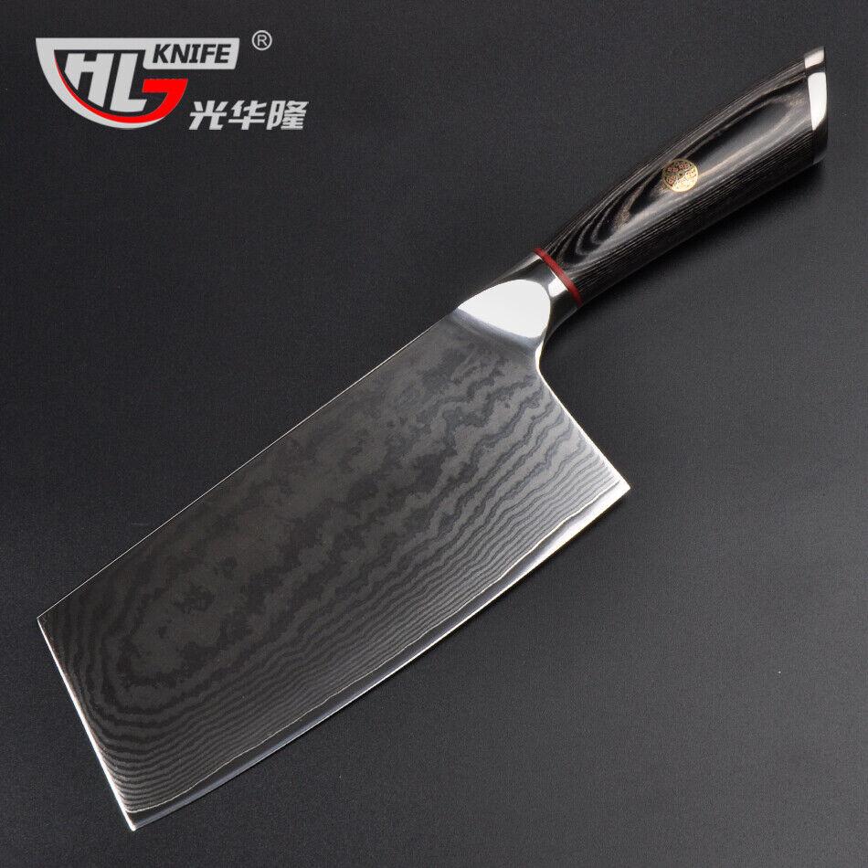 Japonais VG10 d'acier Damas Cleaver couteau chef Vintage Cuisine Bois Poignée Main
