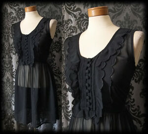 Gothic-Black-Sheer-Frilled-GOSSAMER-Buttoned-Tea-Dress-8-10-Victorian-Vintage