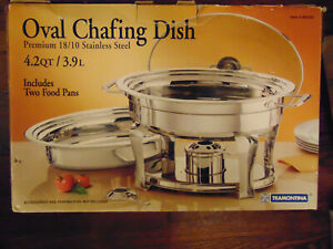 Chafers & Accessories Cheap Price Tramontina Chafing Dish Oval 680302 Premium Stainless Steel 4.2 Qt 3.9l Strong Packing