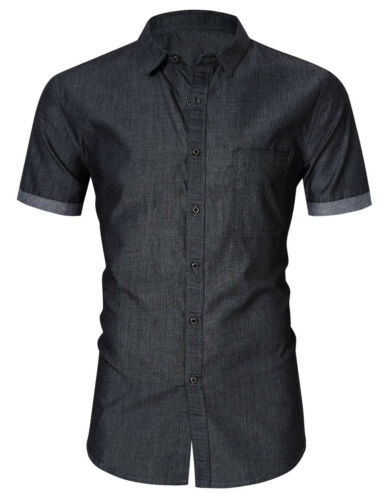 Mens Short Sleeve Shirts Slim Fit Solids Denim Button Down Shirts Cotton SD175