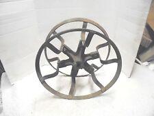 "vintage metal planter marker wire winding spool 16"" diameter farm garden decor"