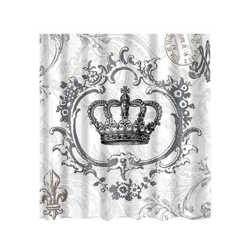 180x180cm Vintage Crown Home Badezimmer Duschvorhang Set mit Haken Dekor