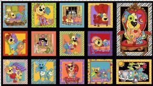 Loralie-039-Dog-Happy-039-Panel-23-039-039-x-44-039-039-on-Black-Cotton-Fabric