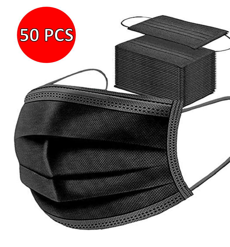 50x Disposable Face Masks Black Soft Mask Breathable Mouth Cover Guard UK £6.99 (up to 11% Off w/multibuy) @ eBay