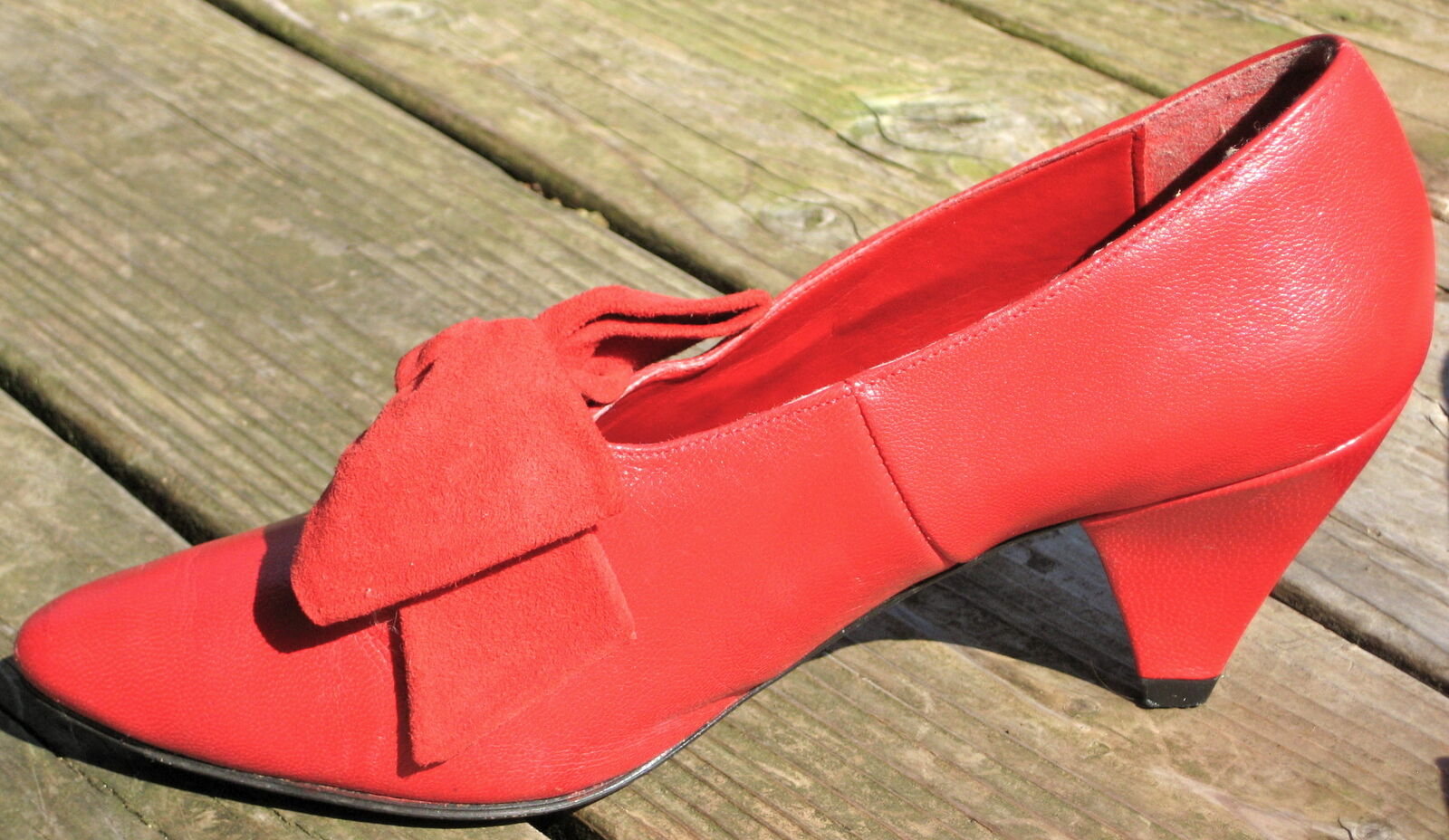 VTG LEATHER 80s LADIES CARVELA ROT LEATHER VTG SUEDE Schuhe PUMPS POINTED TOES UK 4.5 37 6.5 d2802c
