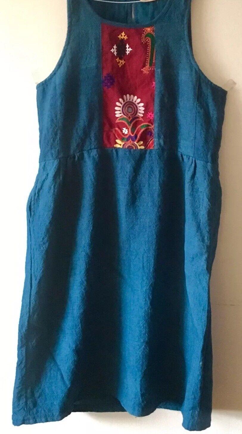 Vtg 70s Art To Wear Teal bluee Boiled Wool Dress,Mirror Kutch Handembroidery L XL