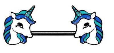 Stunning UNICORN Nipple Bar Piercing Barbell flying Horse 1.6mm x 14mm UK Seller