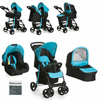 Hauck Shopper Trio Slx Pushchair Travel System Caviar / Aqua From Birth