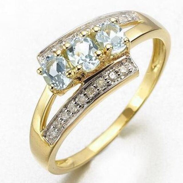 Womens Exquisite Light Blue Cz Insert Gold Filled Rings Fashion