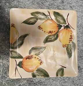 Pier 1 LEMON ORCHARD 11 Inch Square Dinner Plate Hand Painted Earthenware EUC