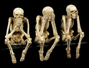 Skelett-Kantenhocker-3er-Set-Deko-Figur-Totenkopf-Schaedel-lustig-Fun-Spass